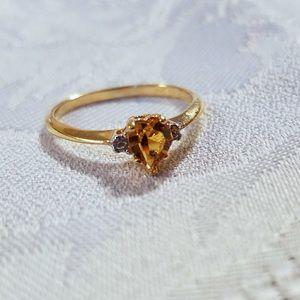 Gold Heart Ring With Peridot & Diamonds